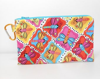 Dragonfly Coin Purse, Large Clip Change Purse, Dragonflies Zipper Pouch