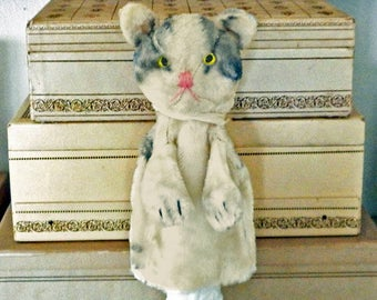 Vintage Cat Hand Puppet, 1950's , Collectible Child's Toy, Primitive Nursery Decor, Animal Puppet, Mid Century, Gray White Shabby Tabby
