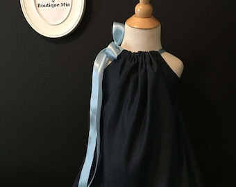 Pillowcase DRESS - Denim - Satin Blue Ribbon - 2 Years of Fashion - Pick the size Newborn up to 12 Years - by Boutique Mia