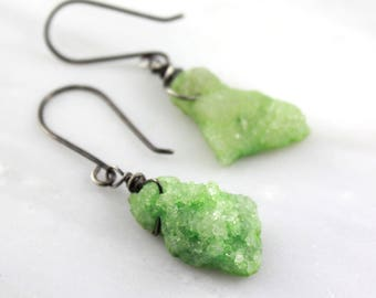 Lime Green Druzy Oxidized Silver Earrings