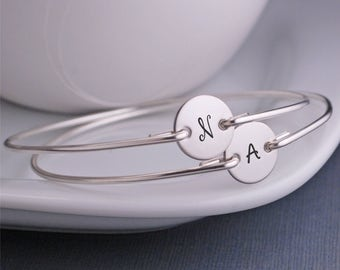 Personalized Bracelets for Mom, TWO Bracelets Christmas Gift for Mom, Custom Silver Initial Bangle Bracelets