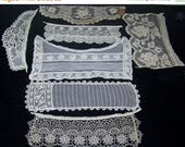 BIRTHDAY SALE Vintage  Bits And Pieces Trim Applique Craft Doll Clothes Costume Doll Up Cycle Embroidery Lace n7