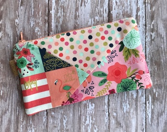 Floral pencil pouch Patchwork pouch Pencil Case Zipper pouch Cosmetic Bag. School Supplies Organizer bag Back to school Gift for her