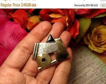 SALE TODAY Modernist Vintage Sterling Silver Black Onyx Stone Industrial Brooch Pin