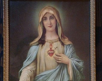 ORIGINAL Vintage Virgin Mary Lambert Product USA Sacred Heart Color Picture Print Wood Frame 8.5 by 11 Inches Glass