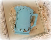 SALE PENDING antique dreamy blue victorian milk glass pitcher gold gilt small pitcher robins egg blue milk glass