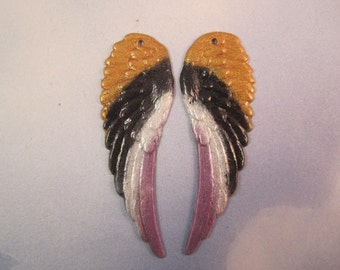 Angel WingsOriginal Iridized Gold,Black,White and Lavender Charms 9125L