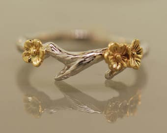 Cherry Blossom Branch Band,twig ring,branch ring,alternative engagement ring,wedding ring, gold twig ring,