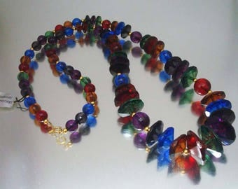 Gorgeous Jewel Tone  Colors Acrylic Necklace Faceted Beads