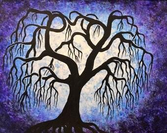 Art, BlueTree painting, Willow tree, original fine art, acrylic painting by Jordanka Yaretz