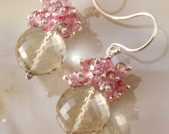 FINAL SALE - Lemon Quartz & Pink Mystic Quartz Drop Dangle Earrings