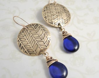 Etched Brass Earrings - Cobalt Glass Beads - Herringbone Pattern