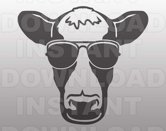 Cow SVG File,Dairy Cow in Sunglasses SVG,Cow Face svg,Farm svg -Commercial & Personal Use- svg for Cricut,Silhouette svg,vector svg,svg cuts