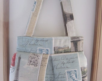 Linen Pleated Handbag Purse Ipad Netbook Tote Postcards From Paris