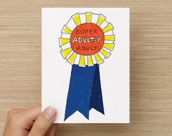 Super Adult-y Adult Recycled Paper Folded Greeting Card