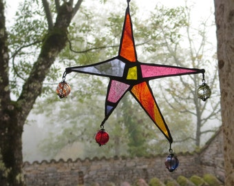 Boho Suncatcher, Stained Glass Star, Bohemian Decor, Colourful Suncatcher