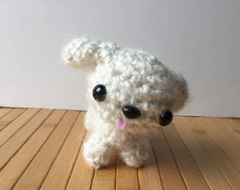 White Poodle Puppy Amigurumi Doll