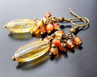 Carnelian Cluster Earrings, Orange, Rustic Boho, Golden Brass Dangles