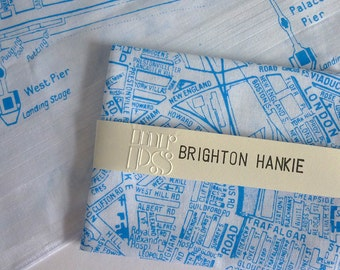 Brighton Hankie screen printed vintage map handkerchief