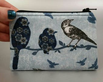 Songbirds - Coin Purse - Zippered Purse - Zippered Case - Black - Blue - Gray - Flowers - White - Branches - Change Purse