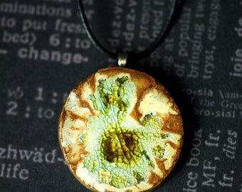 Brown and Green Ceramic and Glass Necklace - Medium