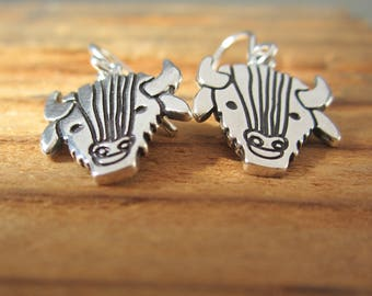 Sterling Silver Buffalo Earrings - Silver Bison Earrings - Western Earrings