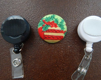 Fabric Covered Button for Clip on Retractable Badge Reel - Christmas Present