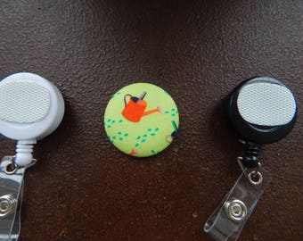 Fabric Covered Button for Clip on Retractable Badge Reel - Watering Can