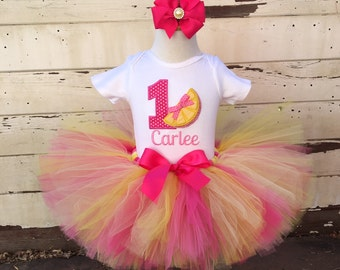 Hot Pink Lemonade 1st Birthday Tutu Outfit- Personalized Baby Girl