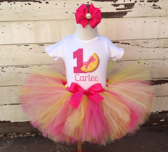 Pink Lemonade Tutu Outfit, 1st Birthday Girl, Hot Pink And