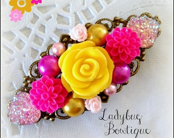 Floral Filigree French Barrette ~ Princess Flower Crown Tiara ~ Aurora ~ Sleeping Beauty ~ Antique Bronze ~ Yellow Gold Pink