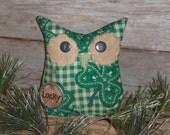 Primitive Whimsical Owl Doll Green Bandana Shamrock St. Patrick's March 17 Lucky Bird Bowl Filler Ornie Ornament Cupboard Tuck Shelf Sitter