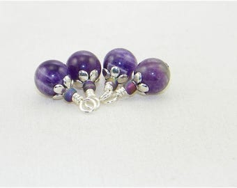 4 Cape amethyst handmade beaded dangle drop charms,  Hand wrapped beads for earrings, Charms, Pendants, Stitch markers, Birthstone February
