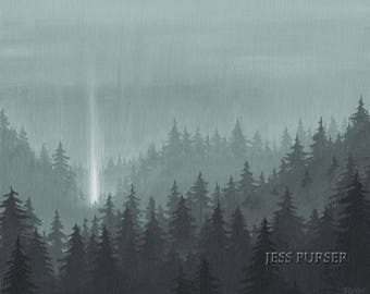 A Light In The Woods - poster print