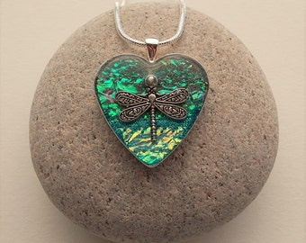 Dragonfly Heart Pendant Necklace Textile and Resin