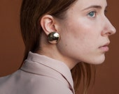 gold circle earrings / geometric earrings / half ball round earrings / 1399a