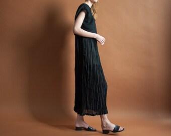 crinkled micropleat black maxi dress / minimalist dress / semi sheer dress / s / 2101d / B3