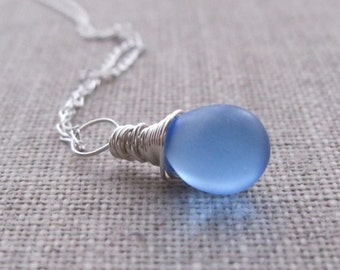 Periwinkle Blue Necklace Pendant. Glass Drop Silver Pendant. Teardrop Briolette Wire Wrapped Sterling Silver Pendant. UK Seller