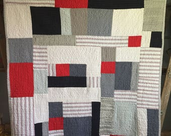 ready to ship -- Nautical linen cotton blend quilt.  Modern and fresh.  White, blue red  and grey