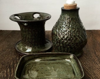ON SALE Three Piece Textured Green Bathroom Set Stoneware Stoneware Clay Pottery Ready to Ship