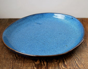 Large Cobalt Blue Oval Ceramic Serving Platter Pottery Plate Stoneware Server Tableware Ready to Ship