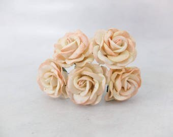 5 pcs - 35mm mulberry paper ivory pale peach tip rose with wire stem - round