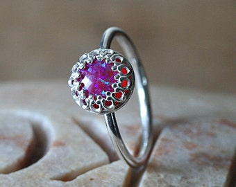 Opal Violet Magenta Stacking Ring Crown Gallery Princess Set, Sterling Silver Ring, Dark Pink Opal, Simulated Opal, Size 2 to 15.5,Solitaire