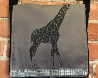 Giraffe Messenger Bag Gray Black 10 x 10