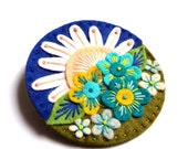 NEW YEAR SALE Summer felt brooch pin with freeform embroidery - scandinavian style