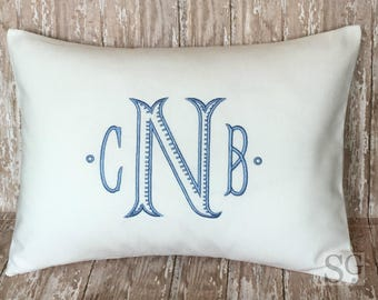 Chinoiserie Monogram Pillow Cover. Ribbed Baroque font. 12x16 Decorative Throw Pillow. Blue & White Decor. Cottage. Baby Rocker Pillow.