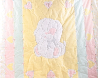 Sleepy Puppy, Baby Blanket, Quilt, Gender Neutral, Puppy, Cute, Bow, Pink, Yellow, Blue Hearts Smoke Free, Pet Free ~ The Pink Room ~ 161215