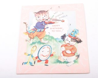 Birthday, Greeting Card Picture Book, Nursery Rhymes, Music, Hey Diddle Diddle ~ The Pink Room ~ 160918