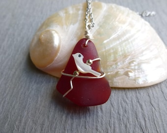 Handmade seaglass red pendant with bird wire wrapped stainless chain