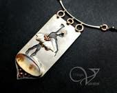 Fine/sterling silver , copper , Moss agate , ballerina , flower pendant necklace